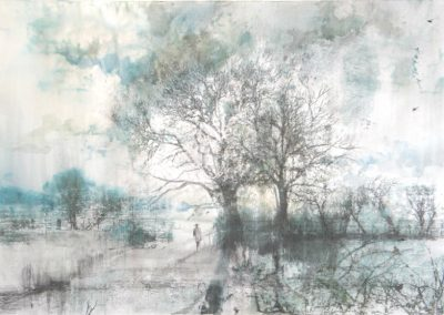 3.Morning Walk. Graphite, watercolour and monotype .Image 64x46cm Frame 90x73cm.£1200