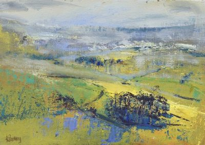 On site sketch for Soft November Light (above Austwick) Acrylic and oil. 21x30cm. Framed £395