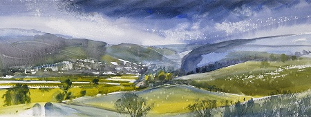 On site sketch towards Kilnsey and Conistone No 2.Watercolour48x18cm.Framed £450