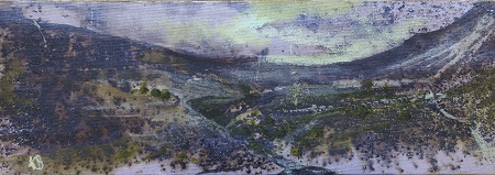 On site sketch.No 2.Pen-y-ghent.Oil.10x30cm. Framed £295