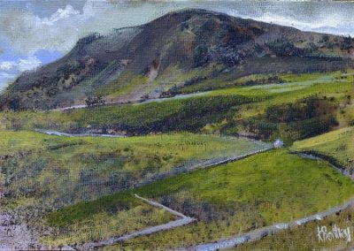 On site sketch.No 4.Pen-y-ghent.Oil.21x15cm.Framed £350
