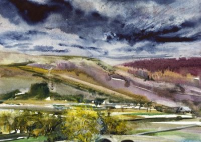 On site sketch.River Skirfare towards Conistone and Grassington.Watercolour.30x30cm. Framed £425