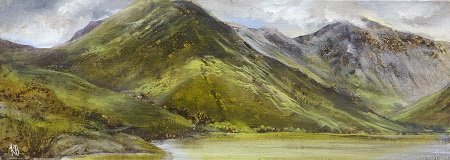 OSS for Heavenly Light No 1. (Yewbarrow , Wastwater) Oil on Board.42x15cm.£695