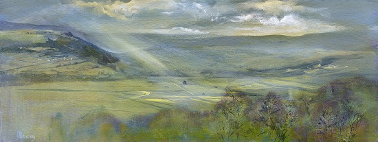 On site Study-Summer in the Lyth valley to the How& The Row.Oil on board.23x60cm.£795 SOLD
