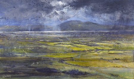 Path of light.(towards Arnside knott from Helsington)Oil on panel.25x42cm.£895 SOLD