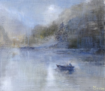 Lakeside -Autumn.Oil on board.25x22cm.£425 SOLD
