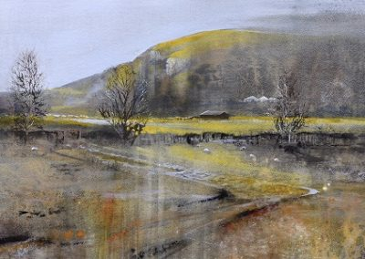 Crisp winter light in the Valley (Whitbarrow Scar). Watercolour. 35x53cm.£895