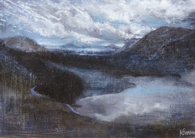 Road round the Lake-Crummock towards Grasmoor,Whiteside.And Mellbreak.Oil on Panel 32x22cm.£395