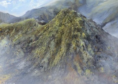 On site sketch-Morning Mists No 1-The Bell,Below Coniston Old Man.Oil on Panel.24x30cm.£425.Sold