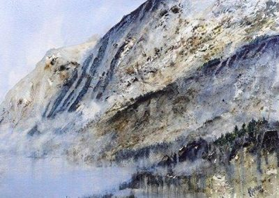 Blue Spring Light (Scales and High Crag,) Watercolour.72x62cm.£895.Sold
