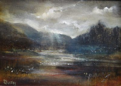 Autumn on Derwentwater.Oil on panel.30x21cm frame 32x41cm.£sold