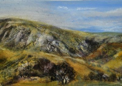 Autumnal glow at Clough Head-St Johns Vale.Watercolour.48x23cm.£795
