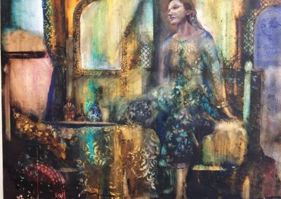 Boudoir.Watercolour,egg tempera.72x55cm frame 98x82cm.£2200
