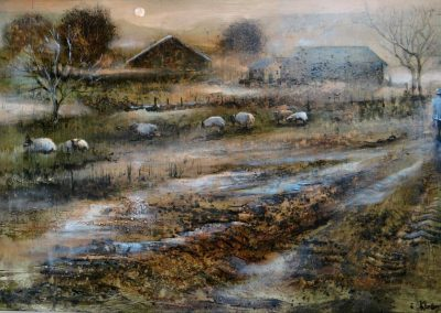 Early morning mist.Oil on Panel.45x29cm frame 53x37cm..£895sold