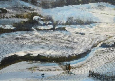 First snow.Oil on panel.25x40cm.£495sold