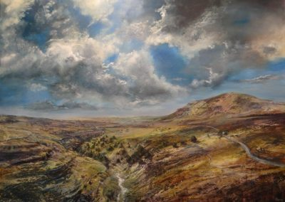Hesleden Ghyll and Pen-y-Ghent.Oil on Panel.155x115cm.