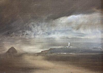 Illumination.(Pladda Lighthouse & Ailsa Craig ,Isle of Arran ).Oil. 18x24cm Frame 30x36cm.£395.