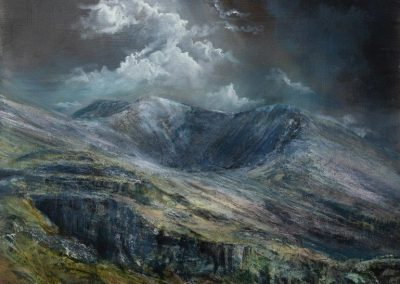 Kate Bentley Heavenly Light.(Towards Swirral Edge ,Catstye Cam,Helvllyn from St Johns Vale)Oil on panel.70x70cm..£1900