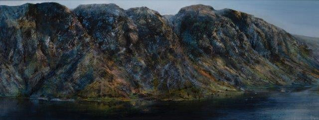 .Wastwater Screes.vers 2..Oil on panel.35x92cm.£1900