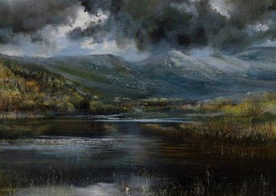 Kate Bentley.Calm before the storm.Kelly Hall Tarn towards Dow Crag and Coniston Old Man.Oil on board.40x40cm.£995Sold