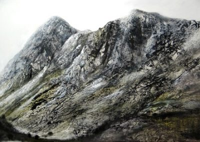 Kate Brentley SWA.Stark Light on the Pikes,(Pike O stickle ,Gimmer Crag,Loft Crag)Oil on panel.50x75cm.£1800