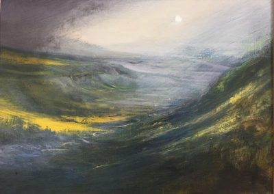Mist rising in the valley (High Cup Nick ,Eden Valley,Appleby)Oil on panel.£995