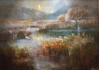 Morning on the Moss.Oil.30x40cm Frame 52x42cm £895.