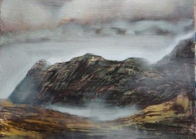 Oil Sketch of Langdale Pikes.Oil on panel 30x30cm.£395