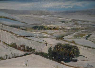 One of those Winter Days ( above Austwick).Oil. image 28x19cm.Frame 42x32cm.£425
