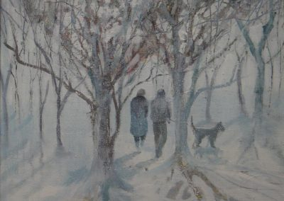 Snow in the afternoon.Oil.Image size 22x22cm.Frame 33x33cm£245