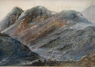 Evening Glow-Langdale Pikes.Oil on panel.30x40cm.£895