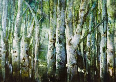 Out of the Woods.Oil on panel .80x42cm Frame 95x57cm.£2200