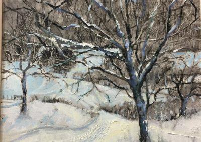 Damson Tree.Oil image 26x24cm frame 40x37cm. £495