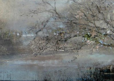 .Pink light on the Riverbank.Oil on panel.40x17cm.£650.