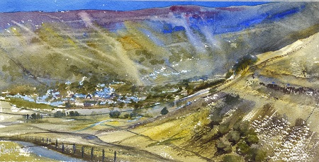 Arncliffe,Cowside beck,Yew Cogar scar.On site sketch. Watercolour 40x20cm.Browser Mounted £295