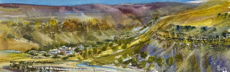 Arncliffe,Cowside beck,Yew Cogar scar.On site sketch.No 2.Watercolour.54x18cm.Brower Mounted £350