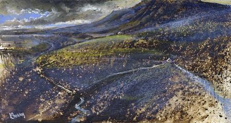 On site sketch for Summer storms over Pen-y-ghent.Oil.20x40cm.Framed £495