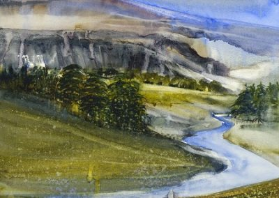 On site sketch River Skirfare towards Littondale.No2.Watercolour.30x30cm.Browser mounted £350