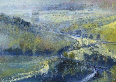 Soft November Light(above Austwick towards Gisburn and Tosside)Oil .60x60cm.Framed £1650
