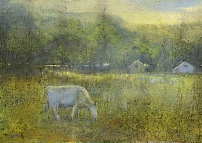 Warm Light in the Meadow (Summer evening from Hawkswick towards Arncliffe).Oil40x60cm.Framed £1750