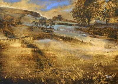 Summer in Hawkswick.Watercolour.45x32cm. Framed.£595