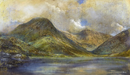 Heavenly Light No 3 (Yewbarrow and Wastwater) Oil on panel. 90x52cm.£2600.SOLD