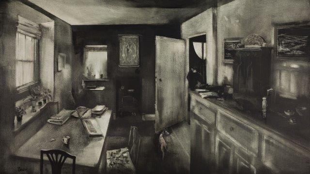 Bentley-Kate.Interior-with-young-woman-and-dog-.-Oil-on-panel.57x98cm