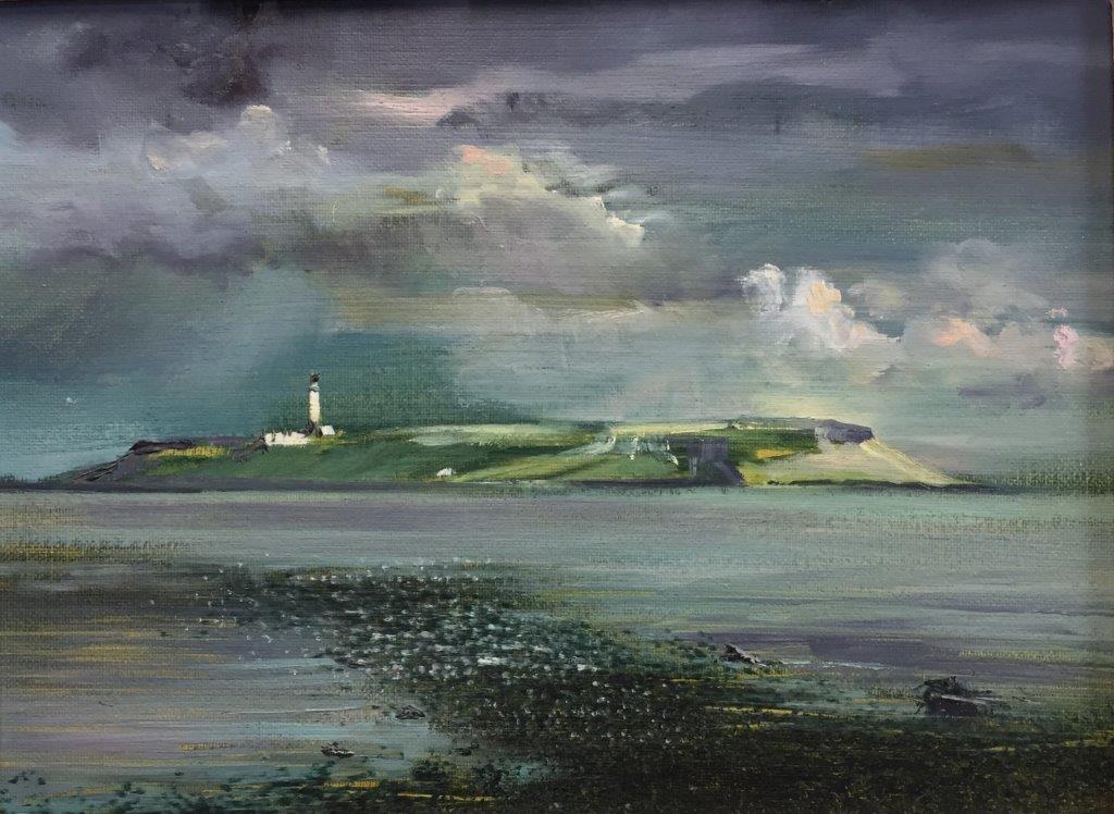 Bright and Breezy Day -Pladda Lighthouse ,Isle of Arran.Oil.18x24cm Frame 30x36cm.£395