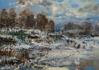 Frozen Tarn.Oil on panel.59x32cm.£sold