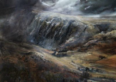 Kate Bentley .Cascade of Cloud.(Clough Head .St Johns Vale) .Oil on panel 89x85cm.£2995sold.