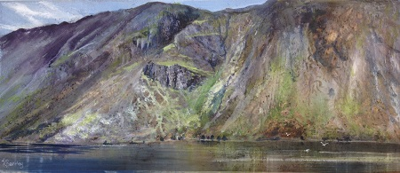 Kate Bentley SWA.Sunlight on the screes-Wastwater.Gouache and watercolour.53x23cm.£695.