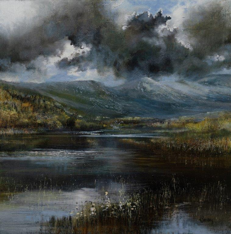 Kate Bentley.Calm before the storm.Kelly Hall Tarn towards Dow Crag and Coniston Old Man.Oil on board.40x40cm.£995