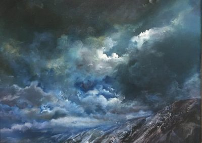 Kate Bentley Midnight Snow on Wastwater Screes.Oil on panel.40x40cm Frame 53x53cm.£1195