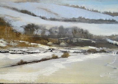 Silence in the snow.Oil on board,40x20cm.£sold